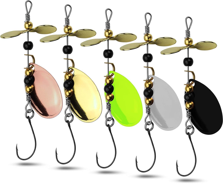 5er Set Spinner Kunstköder mit Propeller zum Angeln auf Forelle und Barsch