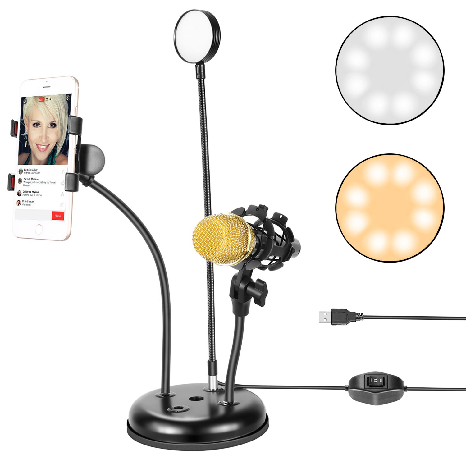 Neewer Live Broadcast USB LED Selfie Ring Light with Cell...