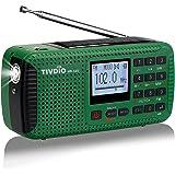 Tivdio HR11S Radio Portátil Radio de Emergencia Am/FM / SW Camping Radio Radio Solar con Reloj Despertador Temporizador MP3 Reproductor Linterna Registrador SOS con Manivela (Verde)