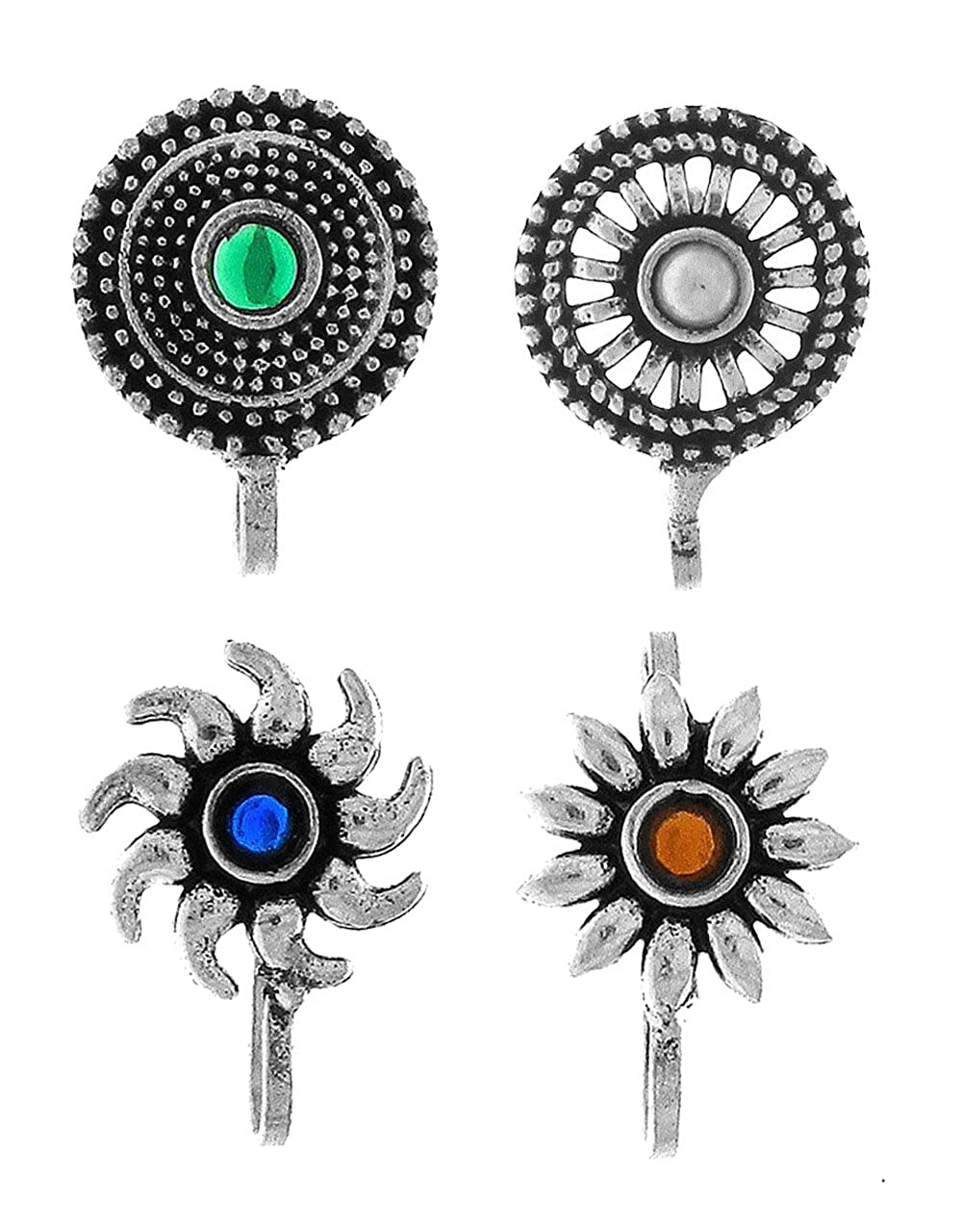 Anuradha Art Silver Oxidised Flower Styled Multi Colour Press On Combo Pack Nose Ring//Nose Stud//Pin For Women//Girls
