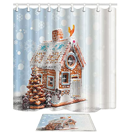NYMB Xmas Bath Curtain For Bathroom Christmas Gingerbread Cookies Like Village House In Snowflakes 69X70in