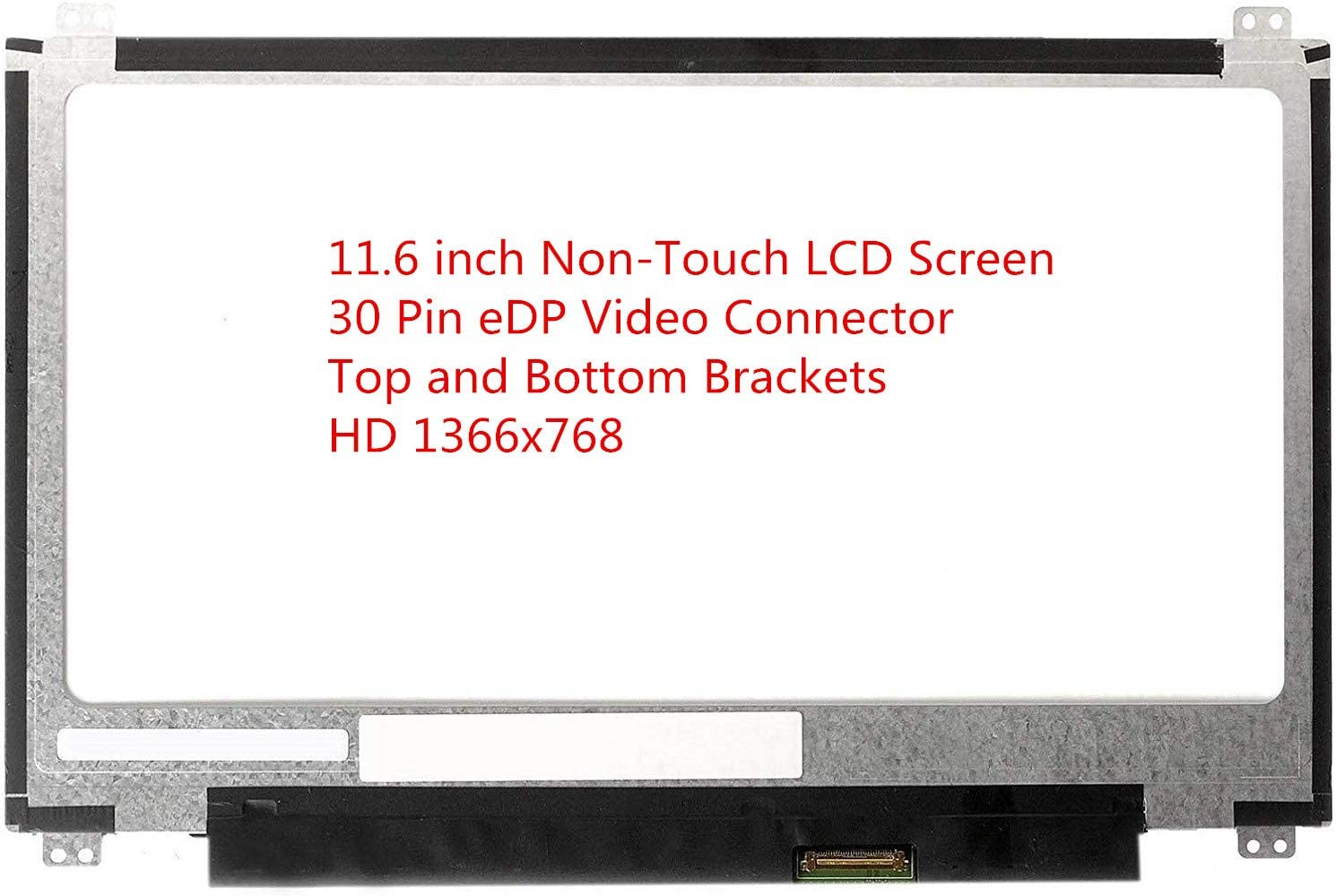 """Rinbers 11.6"""" LED LCD Screen Display Replacement (Non Touch) for ASUS Chromebook C201PA C202 C202S C202SA C223 X205T VIVOBOOK E203MA W202NA N116BGE-EB2 C3 C5 C6 B1 Top and Bottom Brackets (30 Pin)"""