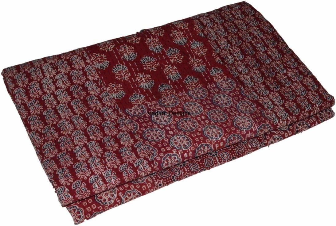 Indian block Print Kantha Quilt Handmade Gudri Bedsheet Throw Cotton Bedspread Bed cover Bedspread Ajrak Queen size,Queen Double Size Kantha