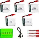 Noiposi 5Pcs 3.7V 650mah Lipo Battery with X6 Charger for TOZO X8tw Q1012 Skyhunter QQPOW X8 Foldable FPV Drone Rc Quadcopter (X8TW Battery)