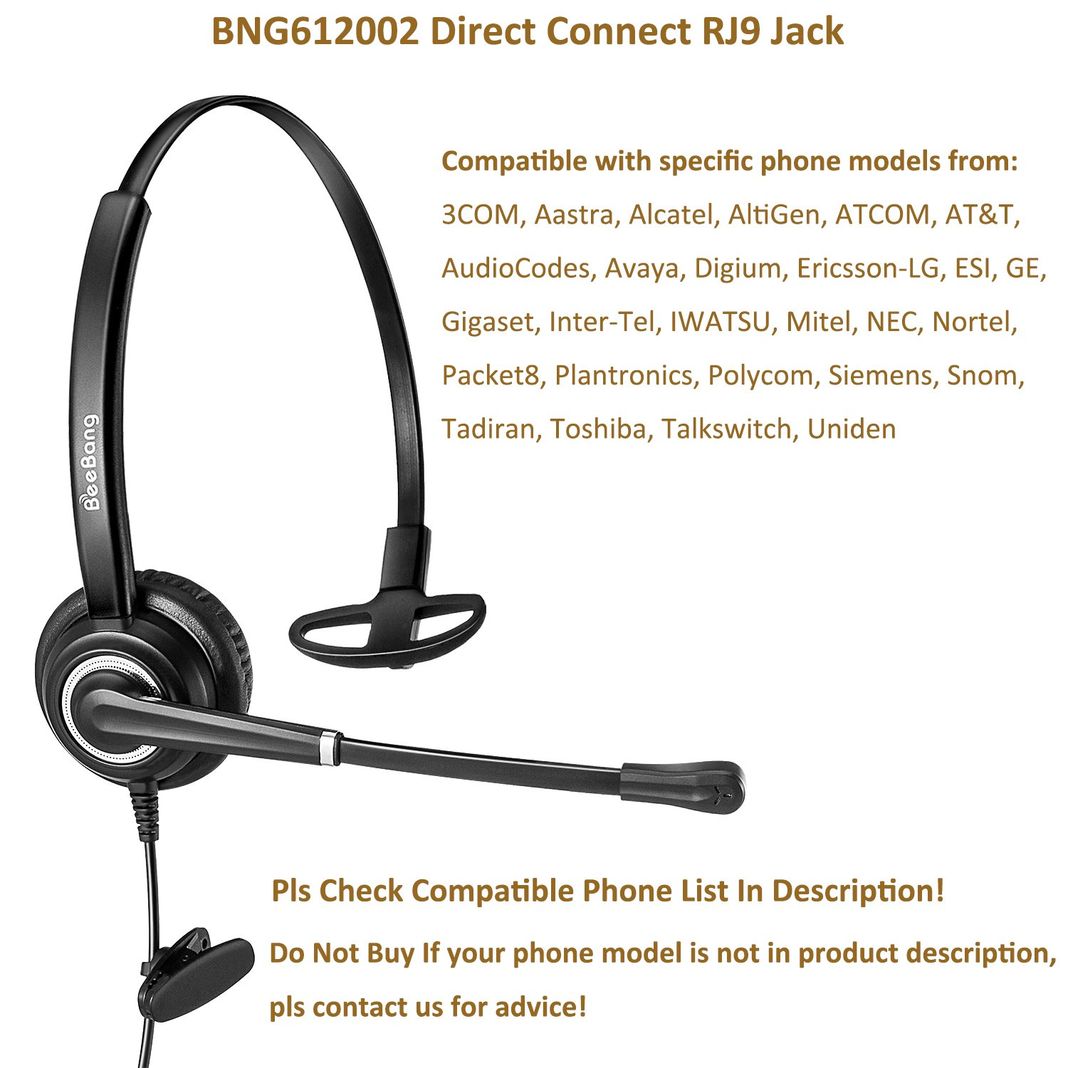 Beebang Corded Telephone Headset With Noise Cancelling Microphone Mono Jack Wiring Rj9 For Call Centers Offices Landline Phones