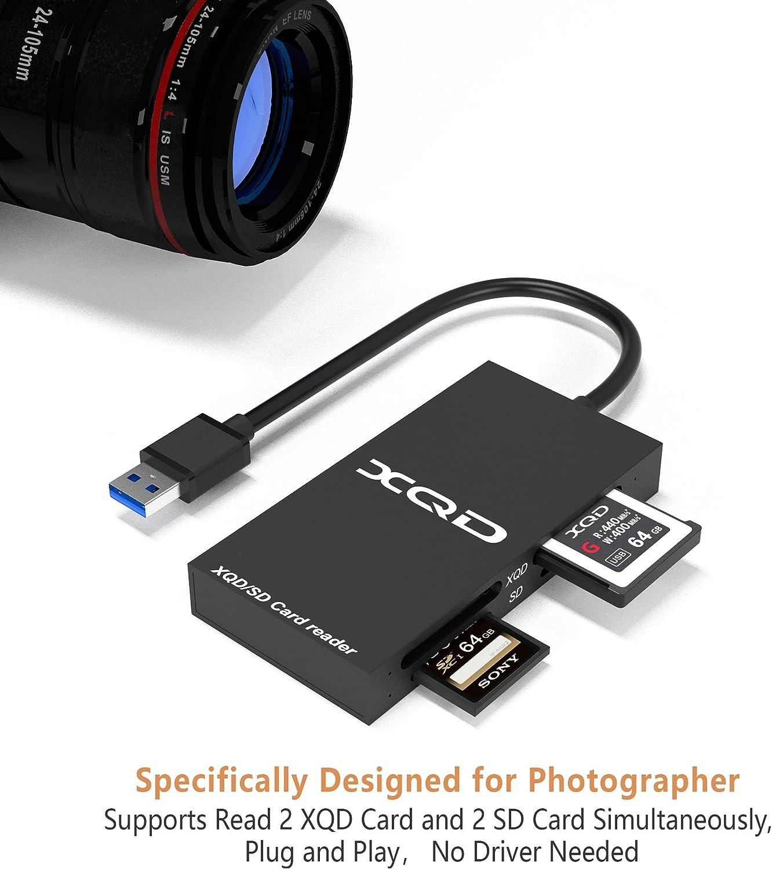 USB 3.0 Lecteur de Carte XQD Prise en Charge de la Carte Sony s/érie G//M USB Mark XQD Carte Lexar 2933x // 1400x XQD Lecteur de Carte XQD SD Carte SD Compatible avec Le syst/ème Windows//Mac OS