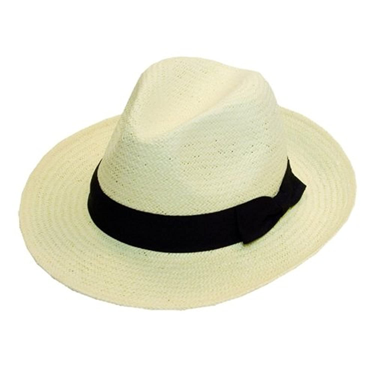 Quality White Straw Panama Hat with black band. (one size fits all)