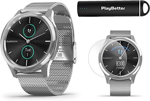 Garmin vivomove Luxe (Milanese/Silver) Power Bundle | +HD Screen Protectors & PlayBetter Portable Charger | Elegant & Sophisticated | Stylish Hybrid Smartwatch