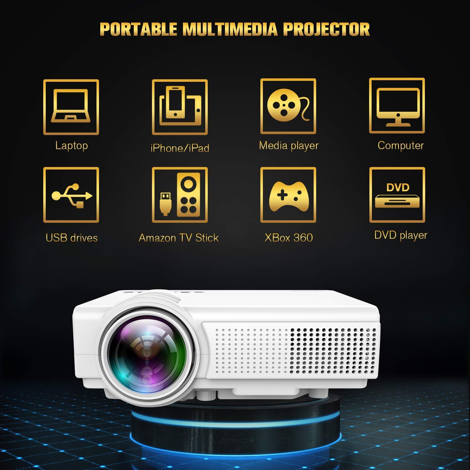 TENKER Upgrade Lumens Q5 Mini Projector, with Big Display LED Full HD Video Projector, Compatible with 1080p HDMI, Fire TV Stick, VGA, USB, AV for Home Theater Entertainment, Party and Games (White) by TENKER (Image #7)