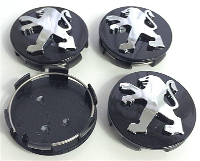 4 tapacubos de alta calidad para Peugeot de 60 mm de aleación negro cromado con logotipo de emblema central para Peugeot 106 107 206 207 306 307 506 507 108 ...