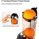 """Argus Le Masticating Juicer, Whole Slow Juicer, 3""""inches(75MM) Wide Feed Chute, Easy Cleaning Auger, Energy Saving 150W DC Motor, Fruit and Vegetable Juice Extractor with Two Filters and Recipe Book"""
