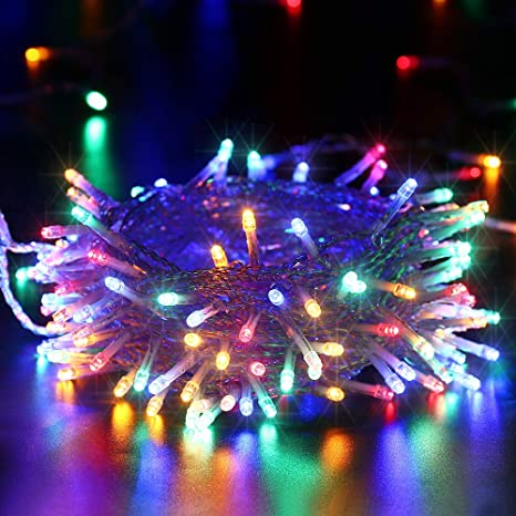 Luci Natale Esterno.Qedertek Luci Natalizie A Batteria Da Esterno Catena Luminosa 12m 100 Led Cavo Trasparente Luci Stringa Per Albero Di Natale Luci Colorate Per
