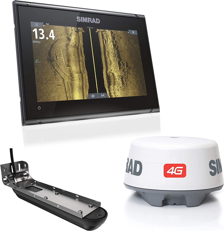 Simrad GO9 XSE 9-inch Fishfinder Navigation Display Active Imaging 3-in-1 Transducer, 4G Radar Bundle C-MAP Pro Charts Installed.