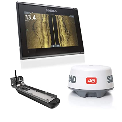 Simrad GO9 XSE: 9-inch Fishfinder Navigation Display Active Imaging 3-in-1  Transducer, 4G Radar Bundle C-MAP Pro Charts Installed
