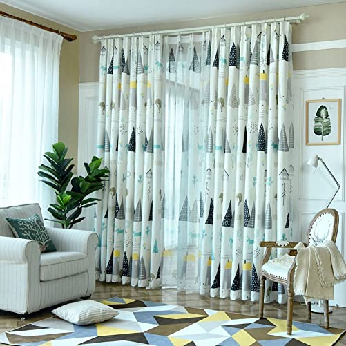 eTRY Cartoon Tree House Elk Semi Blackout Curtains Plants Room Darkening Thermal Insulated Window Drapes and Curtains for Boys Girls Living Room Bedroom Grommet 63 x 84 Inch 1 Panel Grey