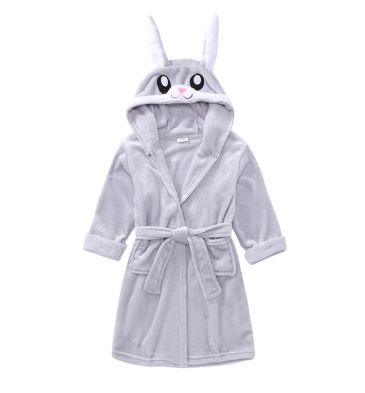 TOLLION Toddlers//Kids Hooded Girls Animal Fleece Bathrobe Boys Plush Robe Pajamas Sleepwear