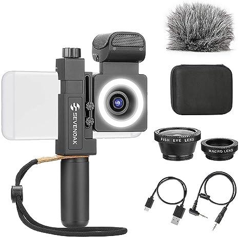 SmartCine - Soporte de vídeo para smartphone con micrófono estéreo integrado, luz LED, gran angular y lentes de ojo de pez, kit de Youtuber Vlogger compatible con teléfonos iPhone Android: Amazon.es: Instrumentos