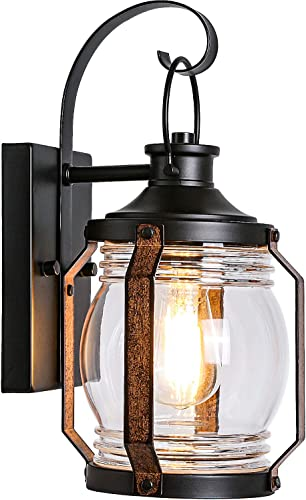 Canyon Outdoor Indoor Wall Light Fixture, LED Bulb Included, Black Wall Lighting, Architectural Wall Sconce with Clear Glass Shade for Entryway, Porch, Front Door, ETL