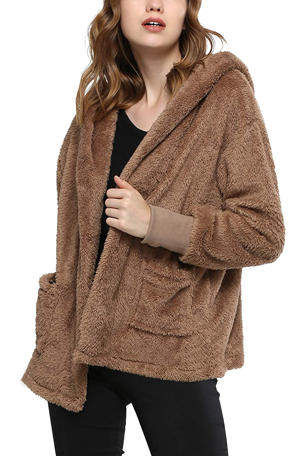 Kinikiss Women's Fuzzy Cardigan Hooded Open Front Jacket Coat Pocket, Spring, Autumn Winter