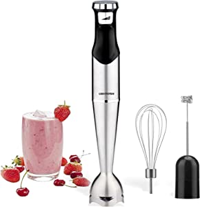 Immersion Hand Blender with Multi-Speed one switch, powerful motor with real power 500 watts, Stick Blender with 304 Stainless Steel Blade. Food processor set with blender, egg whisk and milk frother attachments, BPA free