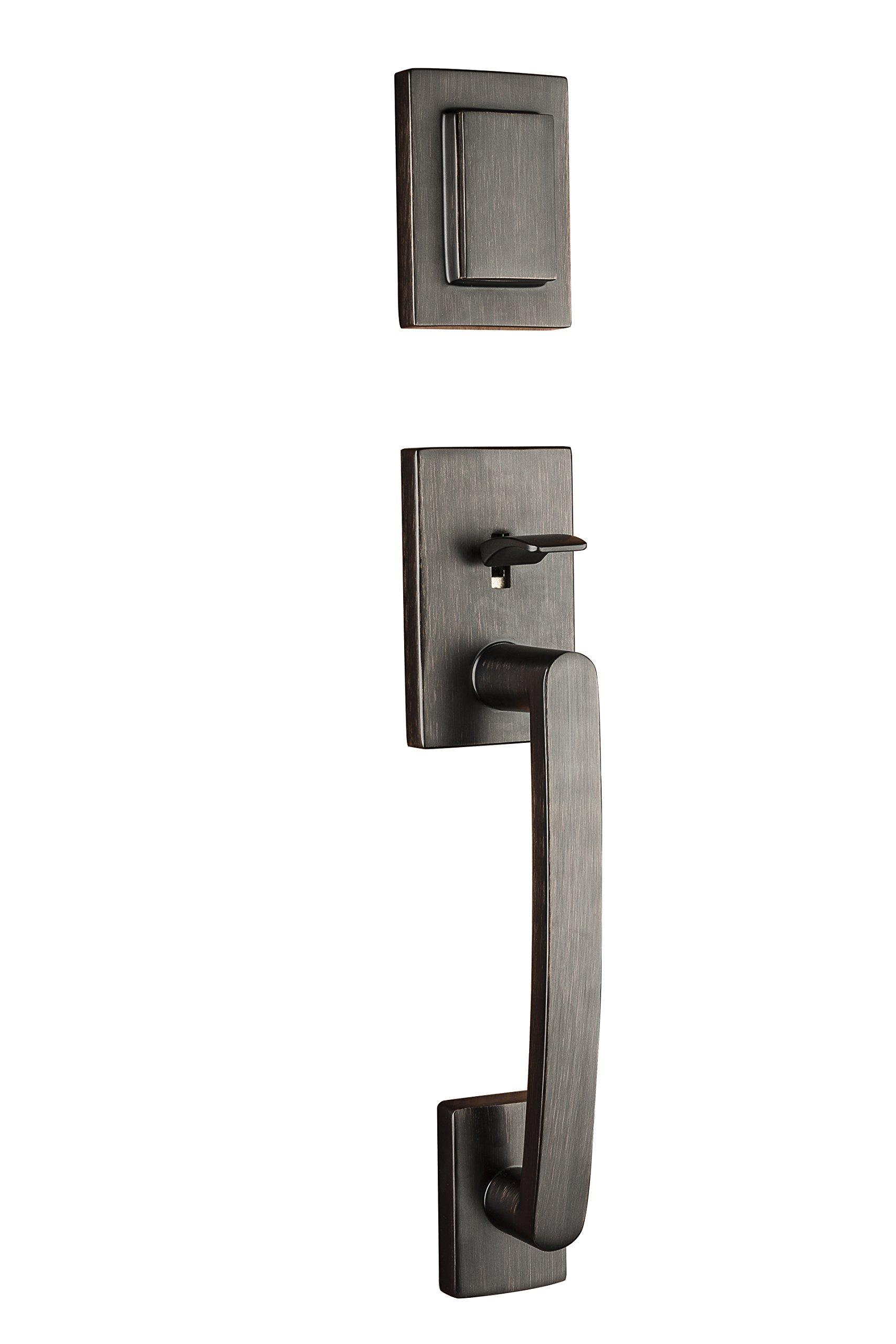 Baldwin Prestige Spyglass Single Cylinder Handleset with Spyglass Lever Featuring Smartkey in Venetian Bronze