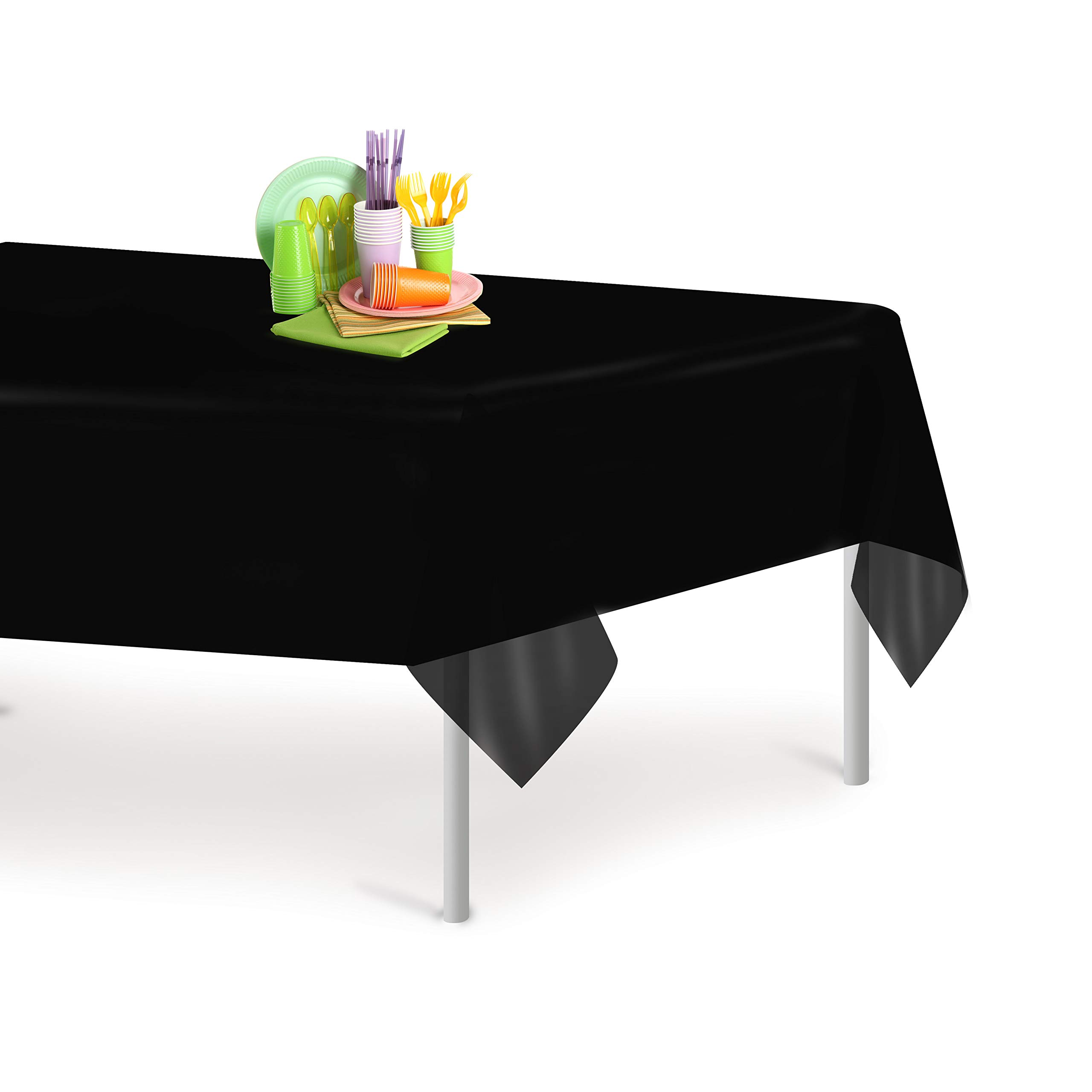 Black 12 Pack Premium Disposable Plastic Tablecloth 54 Inch. x 108 Inch. Rectangle Table Cover By Grandipity