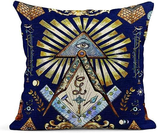 Kinhevao Cojín Masón y símbolos místicos en Azul Francmasonería ...