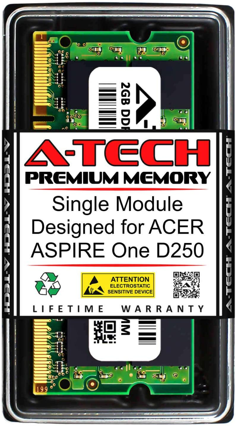 A-Tech 2GB RAM for ACER Aspire ONE D250 | DDR2 667MHz SODIMM PC2-5300 200-Pin Non-ECC Memory Upgrade Module