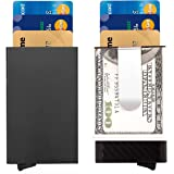 Carbon Fibre Card Case -ManChDa Slim Money Clip Card Holder RFID Blocking Mens Front Pocket Wallet