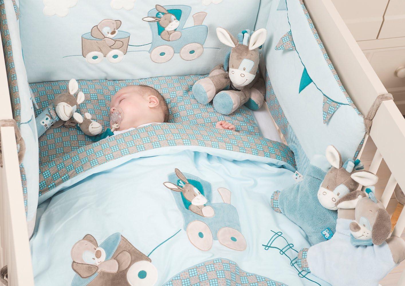 Nattou Tour de lit Bébé 17x17 cm et 17x17 cm, Garçon, bleu - Gaston et  Cyril