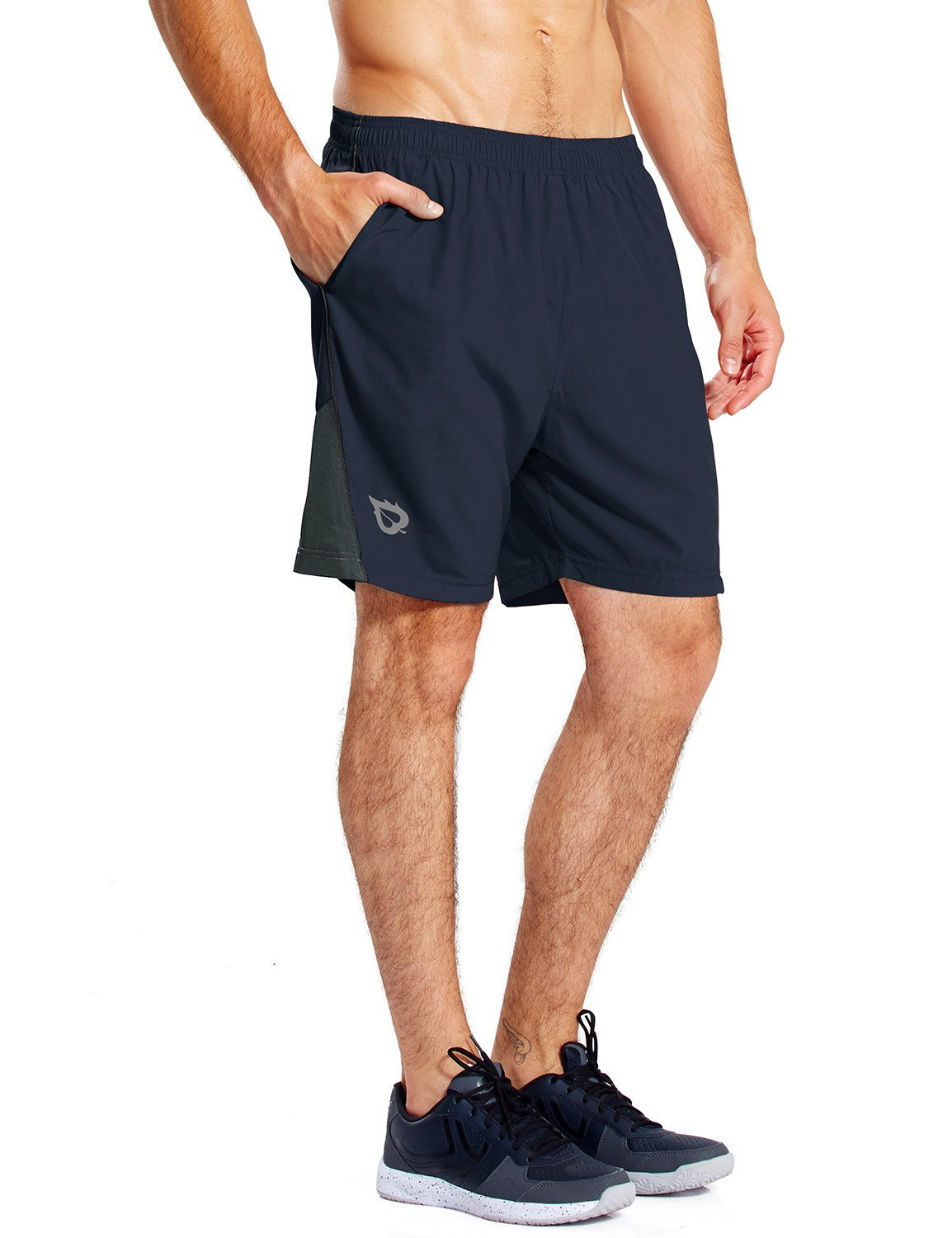 Baleaf Men's 7 Inches Quick Dry Workout Running Shorts Mesh Liner Zip Pockets Navy Size S