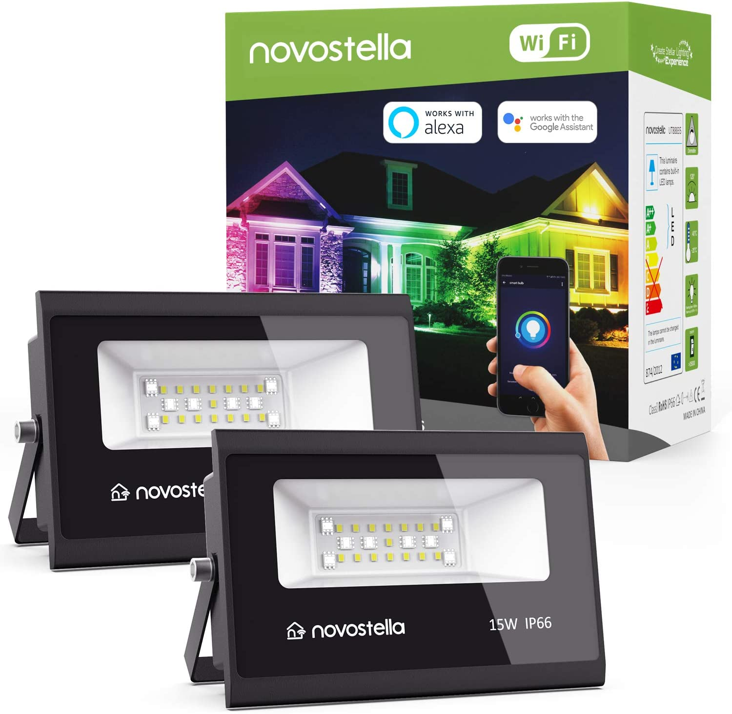Novostella 2 Pack 15W Smart LED Flood Lights, RGB, Daylight White 5000k, WiFi Outdoor Dimmable Color Changing Stage Light, IP66 Waterproof, Multicolor Wall Washer Light, Work with Alexa