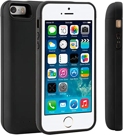 Custodia RICARICABILE per iPHONE 5 nera