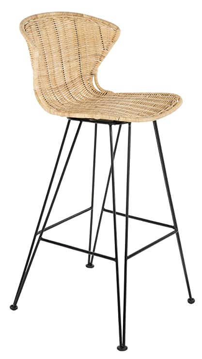 Amazing Amazon Com Jaro Rattan Bar Stool With Metal Legs Natural Cjindustries Chair Design For Home Cjindustriesco