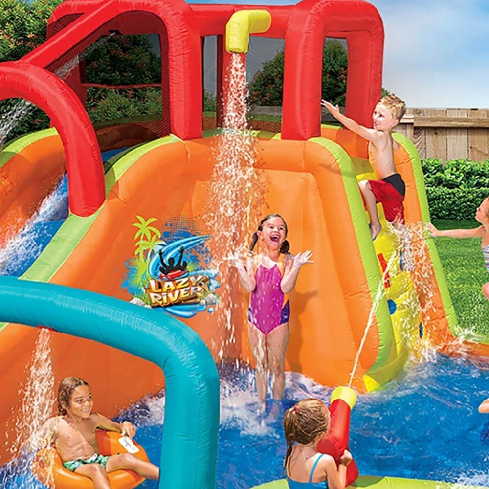BANZAI Kids Inflatable Outdoor Lazy River Adventure Water Park Slide and Pool by BANZAI (Image #2)