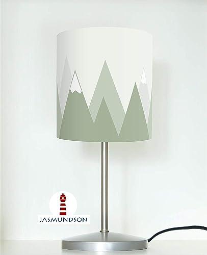 Tischlampe Fur Kinder Mit Bergen In Salbei Grun Als Nachttischlampe