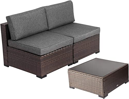 Kinsunny 3 PCs Outdoor Furniture Add-on Armless Chairs for Expanding Wicker Sectional Sofa Set w Drak Grey Thick Cushions for Garden, Pool, Backyard