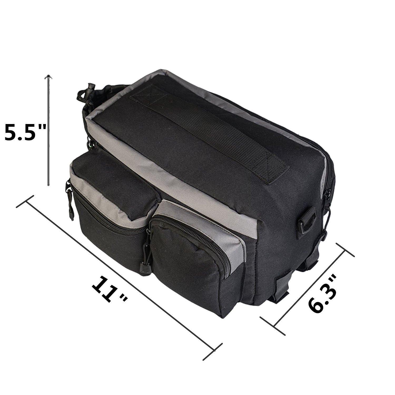 TraderPlus Bike Pannier Bag - Durable & Waterproof Nylon with Reflector Handbag | Shoulder Strap Rack Rear Trunk Tote Bag | Strong Velcro, Zipper Pockets & Bottle Case by TRADERPLUS (Image #5)