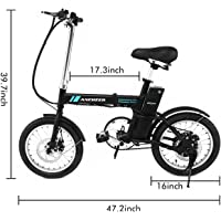 ANCHEER Folding Electric Mountain Bike, 26 Inch Foldable White and Blue Electric Bicycle for Adults with Magnesium Alloy Shockproof Wheels