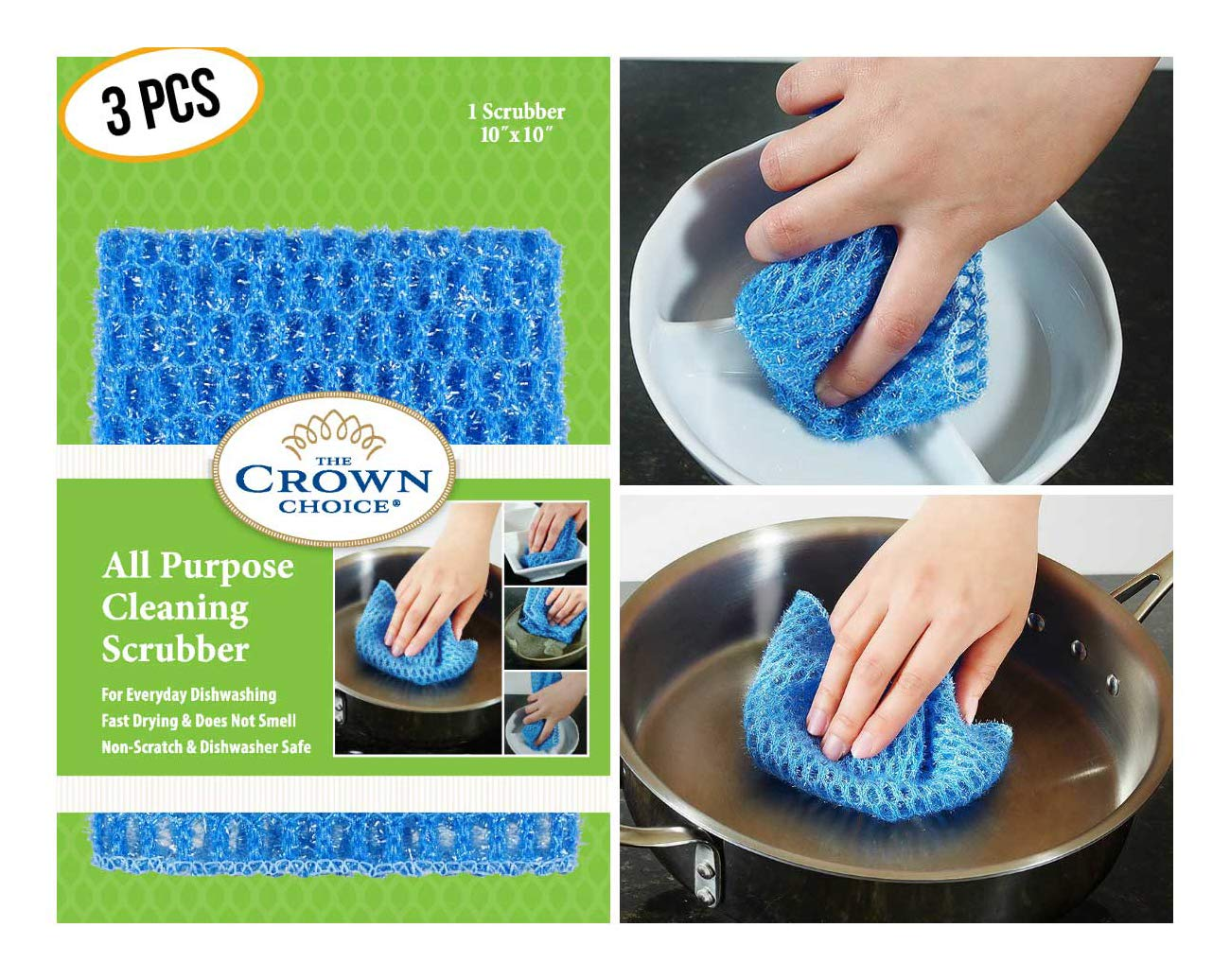 NO ODOR Dish Cloth for All Purpose Dish Washing (3PK) | No Mildew Smell from Sponges, Scrubbers, Wash Cloths, Rags, Brush | Outlast ANY Kitchen Scrubbing Sponge or Cotton Dishcloth by The Crown Choice (Image #1)