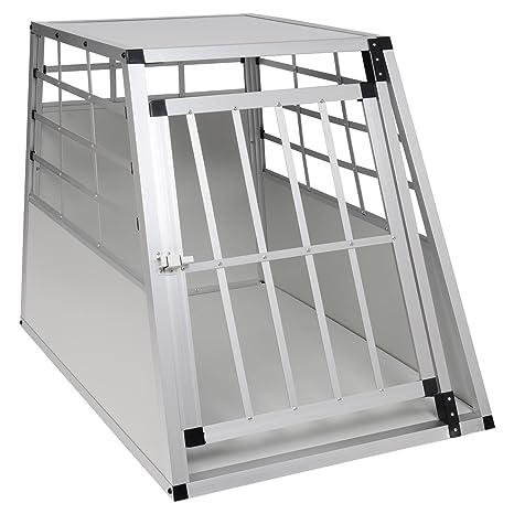 EUGAD Jaula deTransportín para Perros de Aluminio Transporte de Viaje para Mascotas Gatos 1 Puerta Blanco
