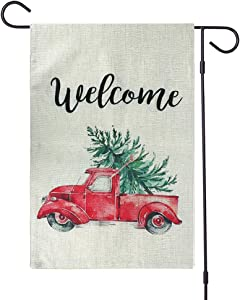 Wellehomi Decorative Merry Christmas Garden Flag Vintage Tree, Home Xmas Quote House Yard Flag with Red Truck, Rustic Winter Garden Yard Decorations, New Year Seasonal Outdoor Flag 12.5 x 18IN