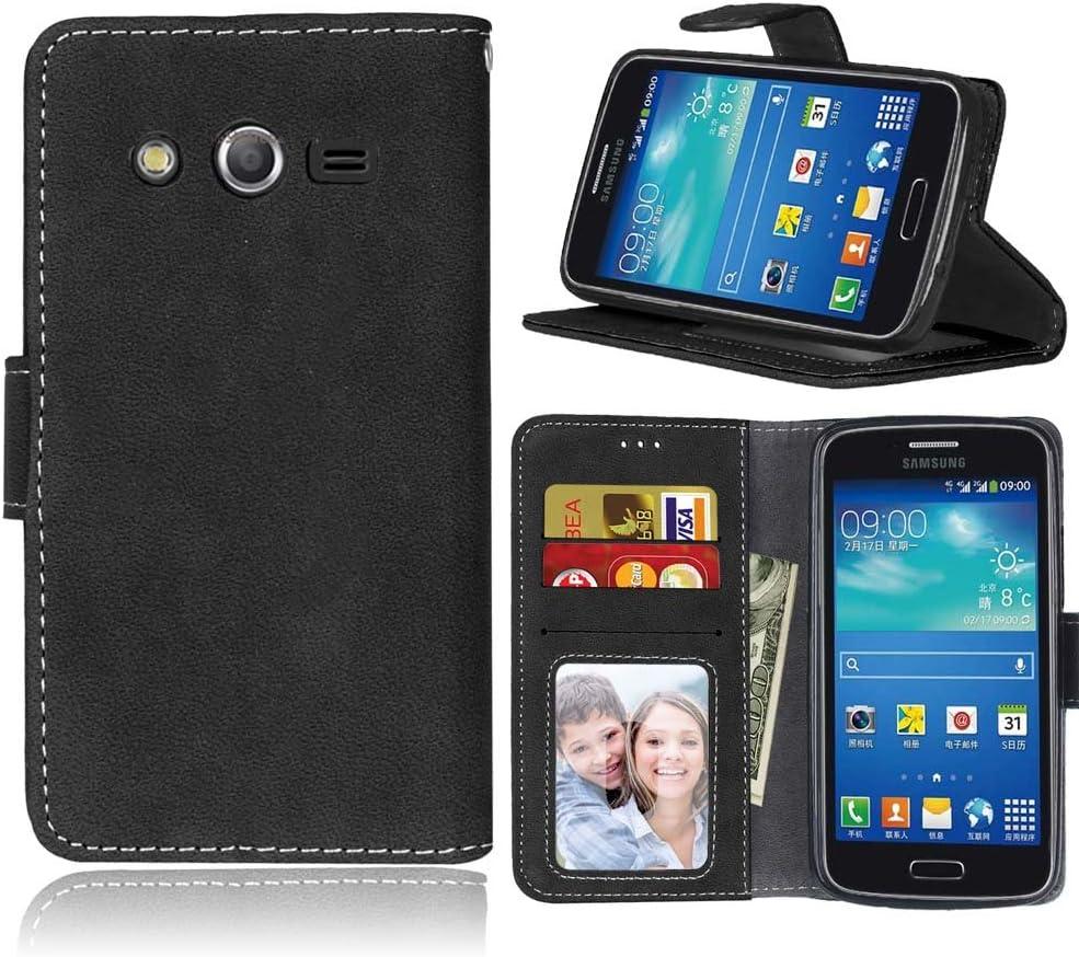 SATURCASE Étui portefeuille en cuir PU givré pour Samsung Galaxy Core LTE 4G / Avant SM-G386F