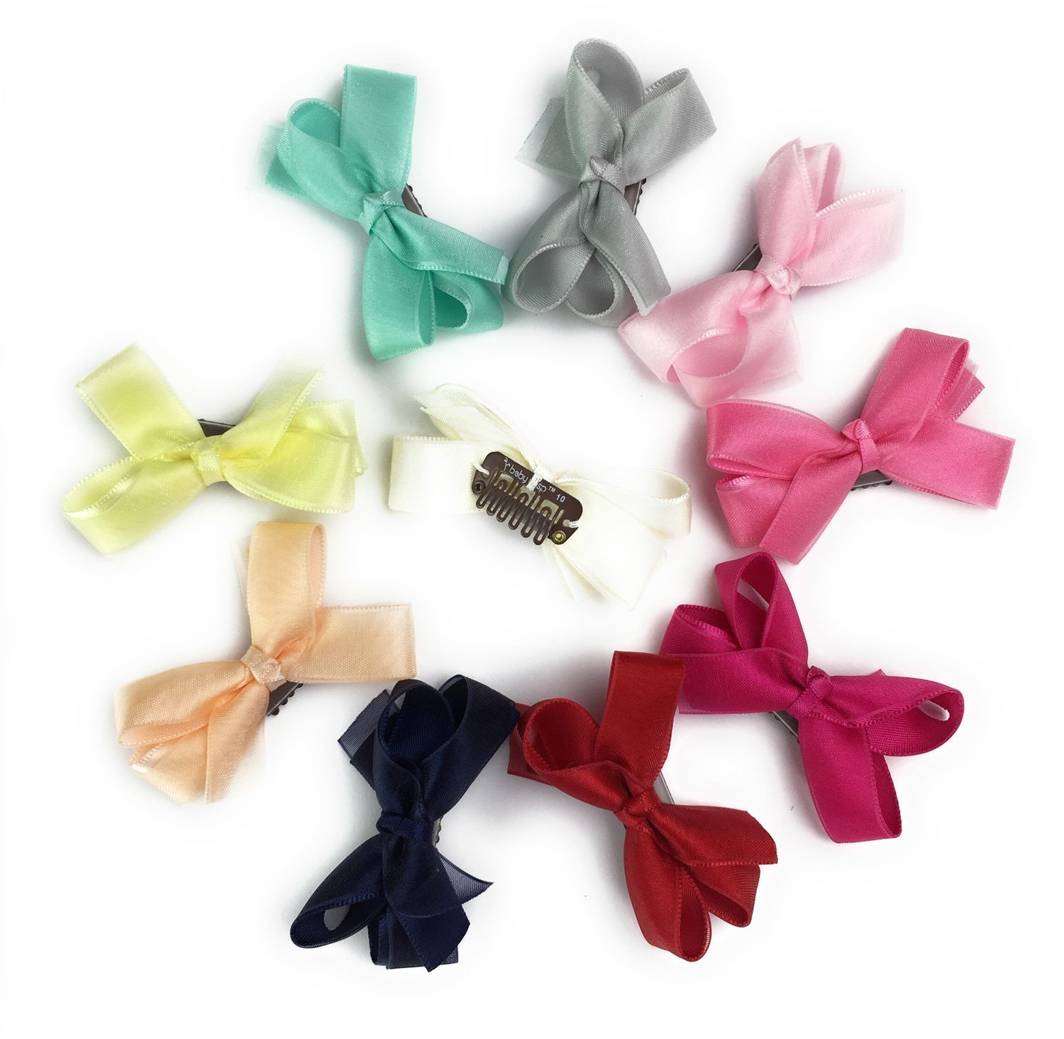 Baby Wisp Tiny Hair Bows Clips for Baby Girls Fine Hair Infants Newborn Wisp Hairclip Baby Bows Accessory 10pcs