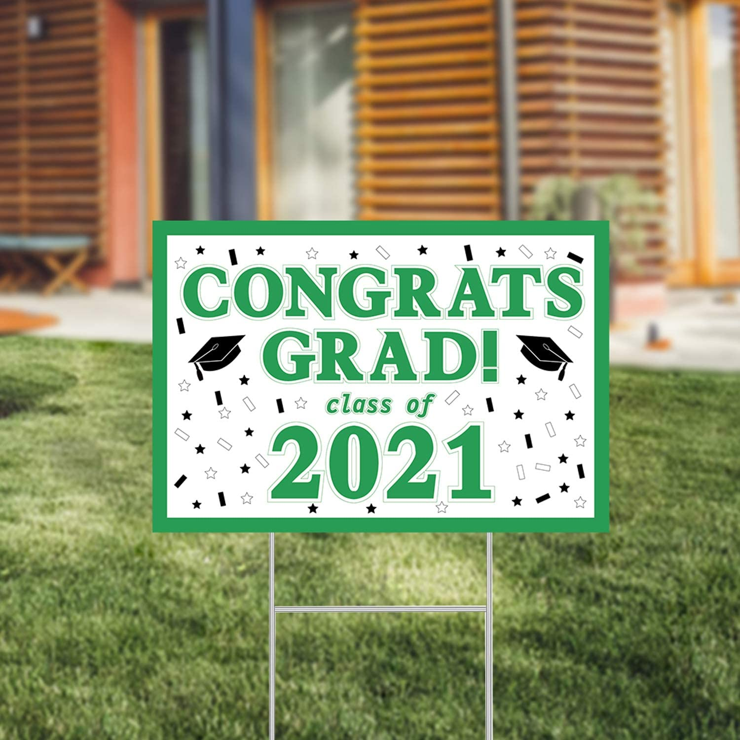 CHOiES record your inspired fashion 2021 Graduation Yard Signs with Stakes Green Big 2020 Graduation Decorations Weatherproof Corrugated Plastic Signs