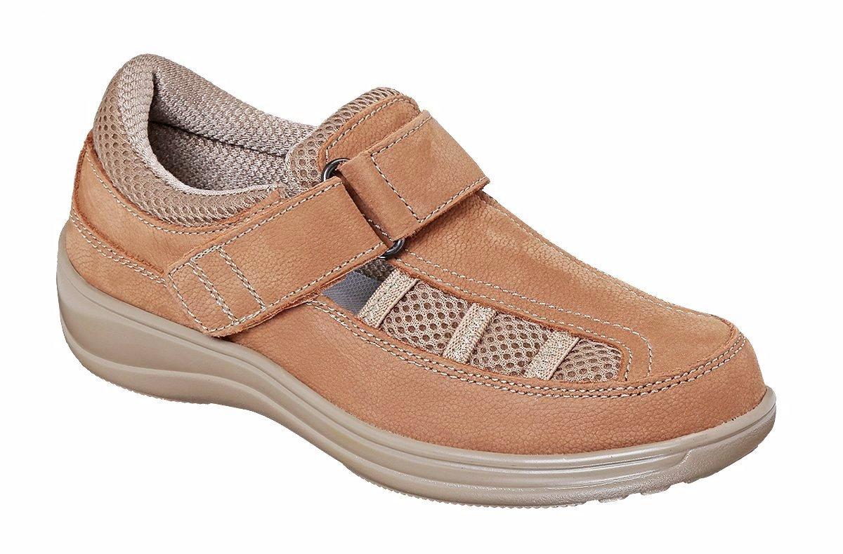Orthofeet 872 Women's Comfort Diabetic Extra Depth Sandal ShoeTan 8 Wide (D) Velcro