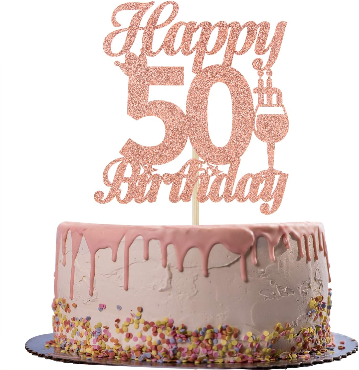 Rose Gold Glitter Happy 50th Birthday Cake Topper - Cheers to 50 Years Old Cake Decor - 50th Birthday/Anniversary Party Decoration Supplies