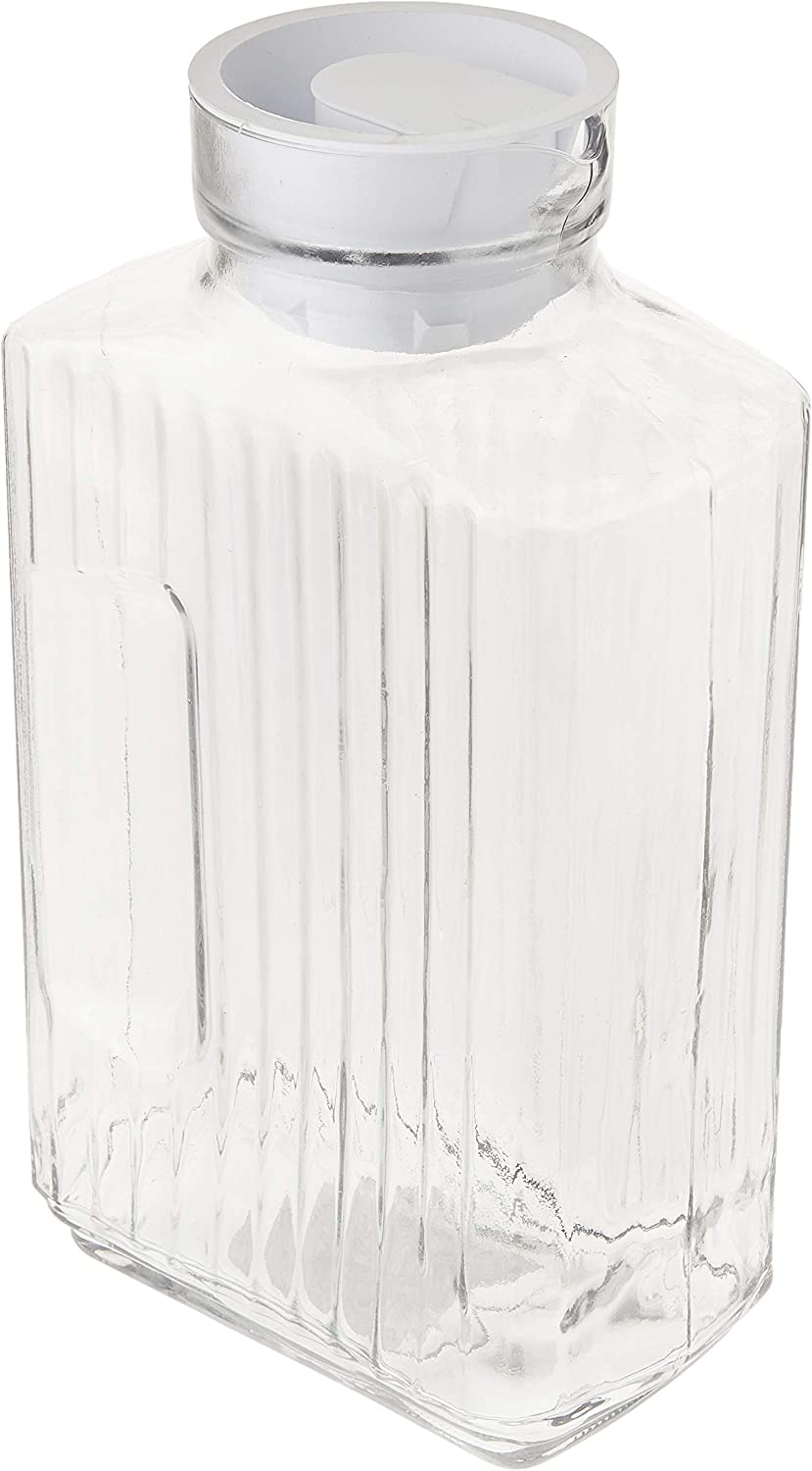 Anchor Hocking Glass Bistro Pitcher with White Stopper, 64-Ounce, Clear