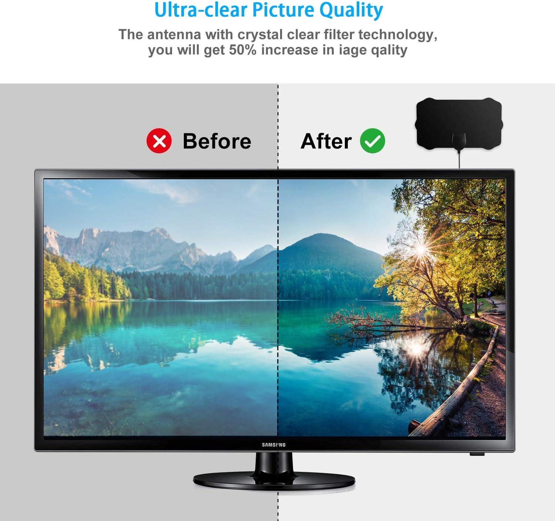 Antena TV Interior, 4K 1080P HD Antena TV portátil HD TV Digital 80-120 Millas con Amplificador de señal Inteligente para Canales de TV gratuitos