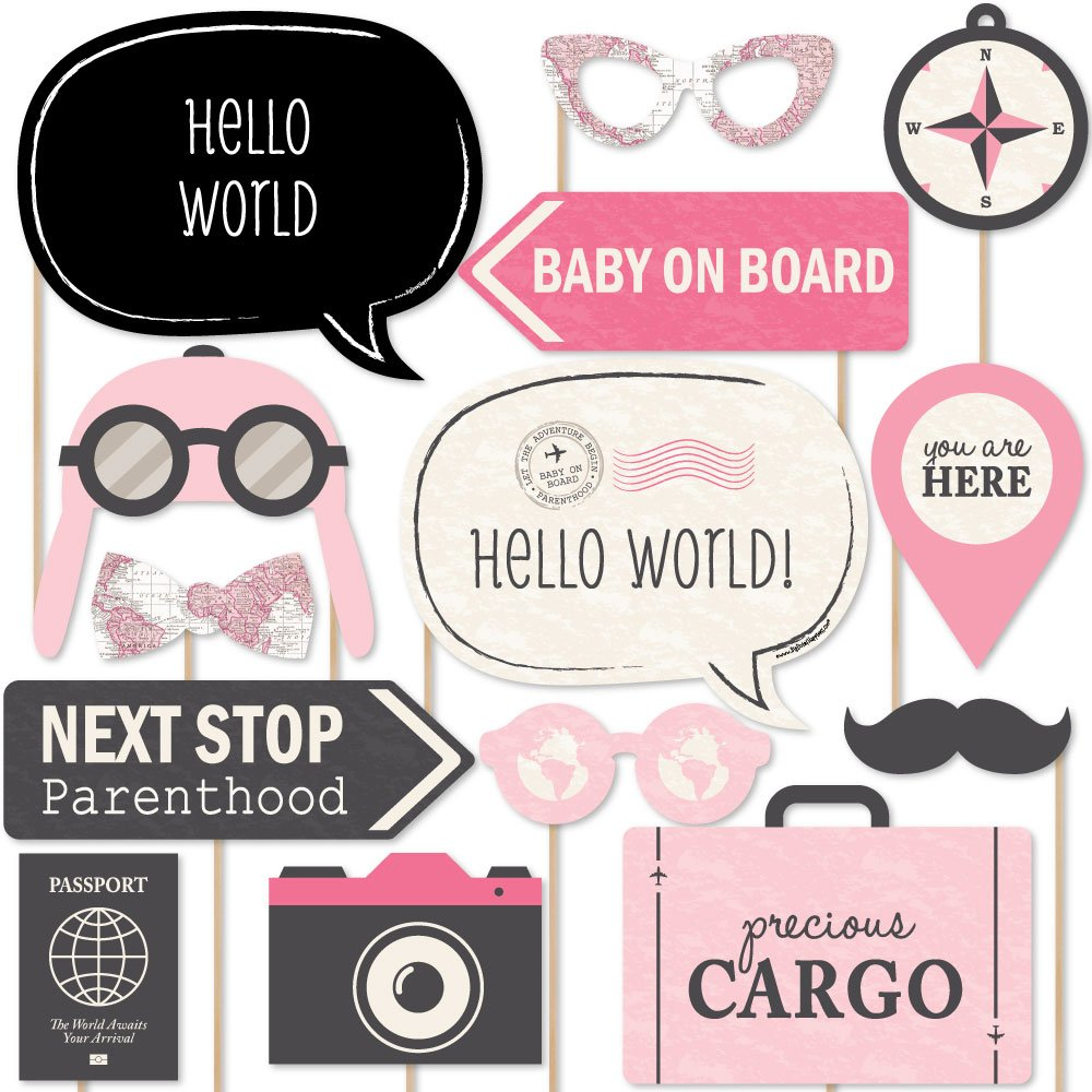 Precious Cargo - Pink - Girl Baby Shower Photo Booth Props Kit - 20 Count